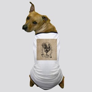 french country rooster burlap Dog T-Shirt