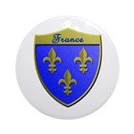 France Metallic Shield Round Ornament