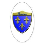 France Metallic Shield Sticker