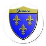France Metallic Shield Round Car Magnet