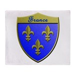 France Metallic Shield Throw Blanket