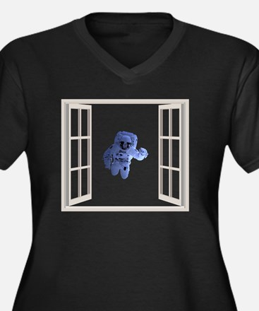 Cool Space pirate Women's Plus Size V-Neck Dark T-Shirt