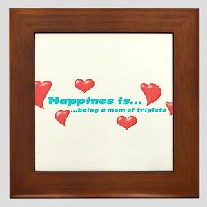 Happiness is...triplets Framed Tile