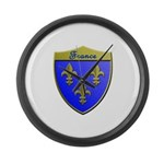 France Metallic Shield Large Wall Clock