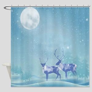 Snowy Reindeer Winter Animal Shower Curtain