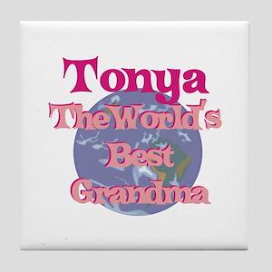 Tonya - Best Grandma in the W Tile Coaster