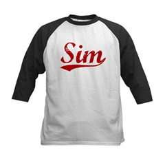 Sim (red vintage) Kids Baseball Jersey