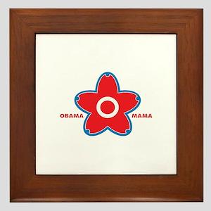 obama mama flower - red_01 Framed Tile