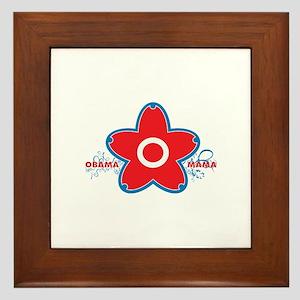 obama mama flower - red_03 Framed Tile