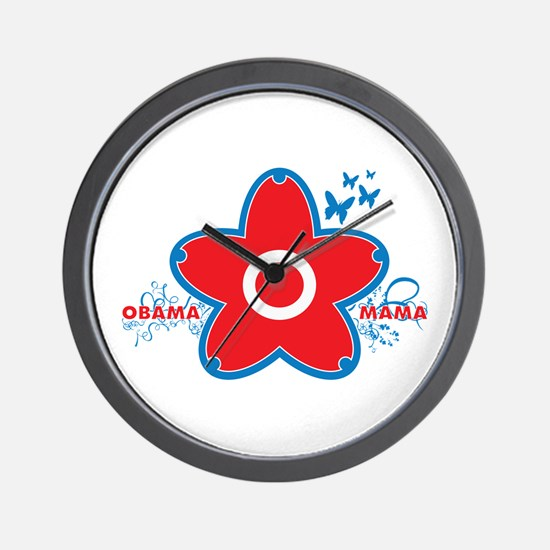 obama mama flower - red_04 Wall Clock