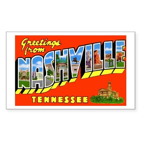 Nashville Tennessee Greetings Rectangle Sticker