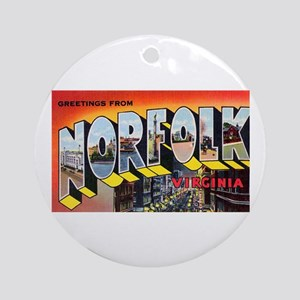 Norfolk Virginia Greetings Ornament (Round)