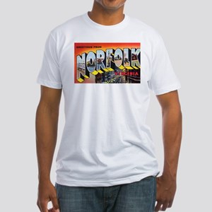 Norfolk Virginia Greetings (Front) Fitted T-Shirt