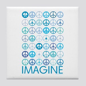 Imagine Peace Signs Tile Coaster