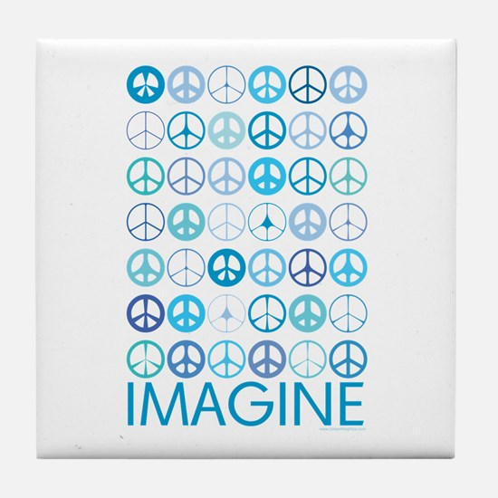 Imagine Peace Signs Tile Coaster