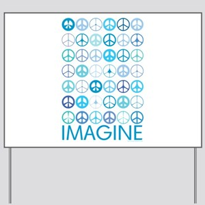 Imagine Peace Signs Yard Sign