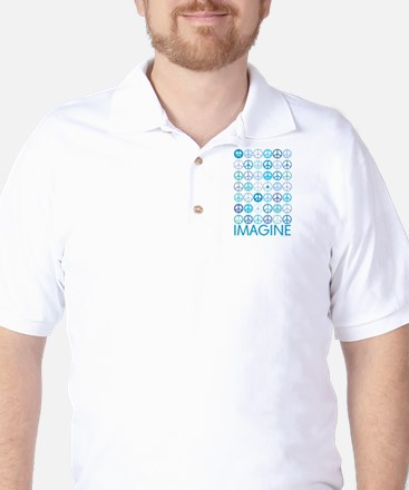 Imagine Peace Signs Golf Shirt