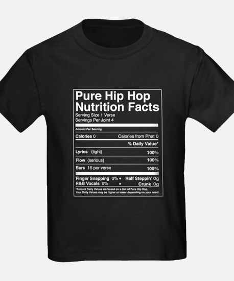 Hip Hop Nutrition Facts Kids Black T-Shirt