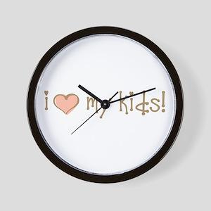 I Love Heart My Kids Wall Clock