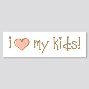 I Love Heart My Kids Bumper Sticker