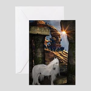 Wonderful white unicorn in the night Greeting Card