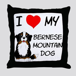 I Love Heart Bernese Dog Throw Pillow