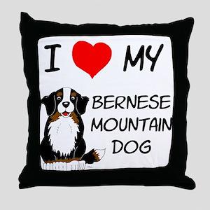 I Love Heart Bernese Dog Throw Pillow