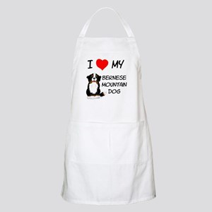 I Love Heart Bernese Dog BBQ Apron