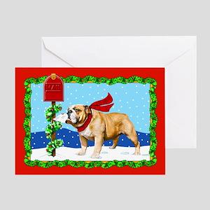 Christmas Bulldog Mail Greeting Card