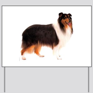 Black Rough Collie Yard Sign