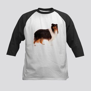Black Rough Collie Kids Baseball Jersey