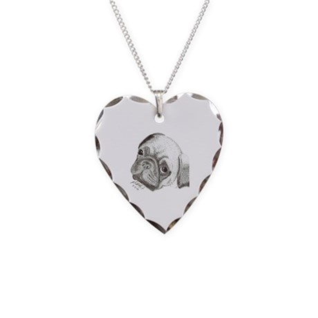 Pug :Pen and Ink Media Necklace Heart Charm