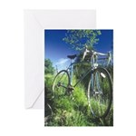 Green Bicycle Greeting Cards (Pk of 10)