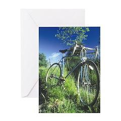 Green Bicycle Greeting Card
