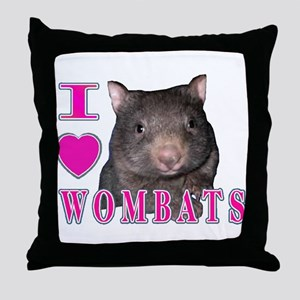 I Love ( Heart ) Wombats Throw Pillow