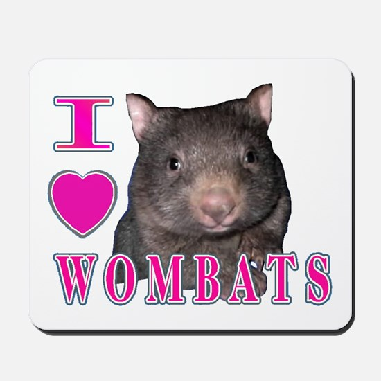 I Love ( Heart ) Wombats Mousepad