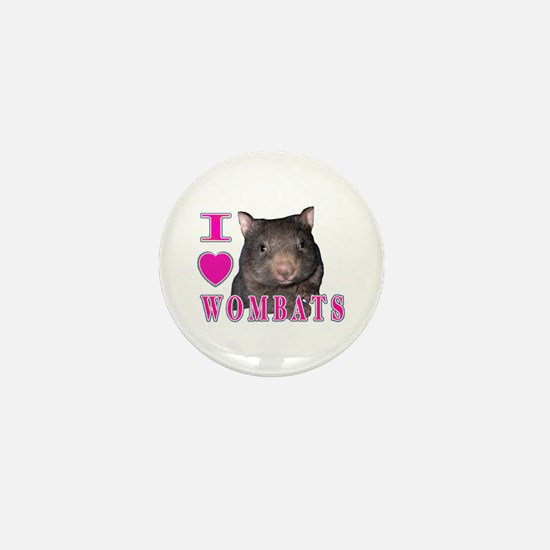 I Love ( Heart ) Wombats Mini Button