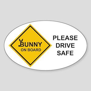 bunny on board Oval Sticker