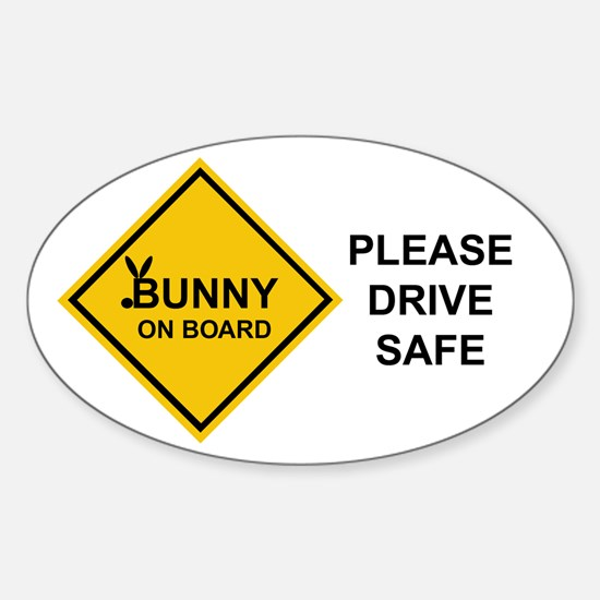 bunny on board Oval Decal