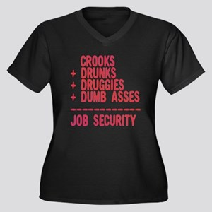 JOB SECURITY Women's Plus Size V-Neck Dark T-Shirt