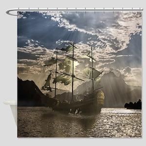 Spooky Pirate Ship in Beautiful Ocean Scene Shower