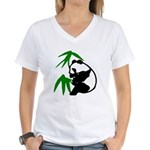Single Panda Women's V-Neck T-Shirt