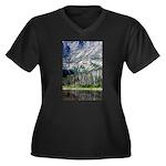 Chimney Pond Women's Plus Size V-Neck Dark T-Shirt