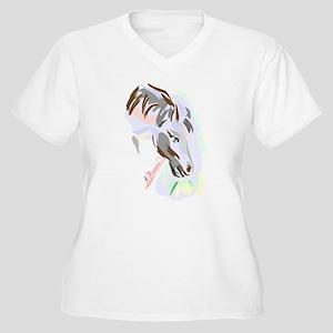 Colorful Horse Women's Plus Size V-Neck T-Shirt