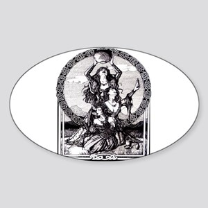 Triple Goddess Oval Sticker