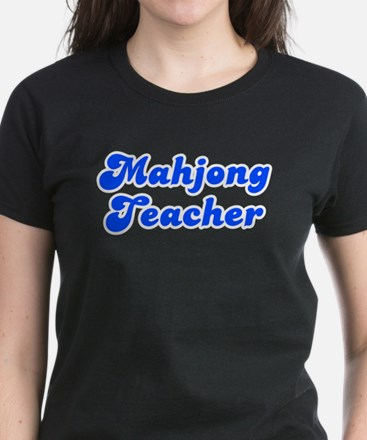 Retro Mahjong Tea.. (Blue) Women's Dark T-Shirt