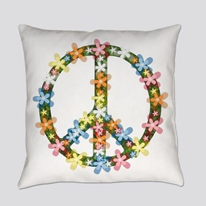 Peace Flowers Everyday Pillow