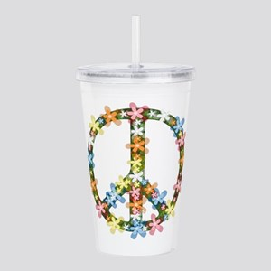 Peace Flowers Acrylic Double-wall Tumbler