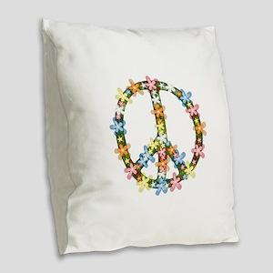 Peace Flowers Burlap Throw Pillow
