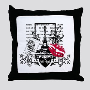 Paris Postcard Throw Pillow